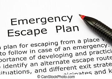 plano, emergência, fuga