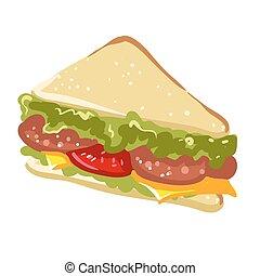plano, emparedado, alimento, rápido, panini, vector, icono