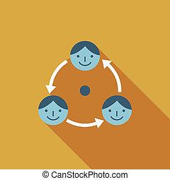 plano, empresa / negocio, largo, conexión, sombra, icono