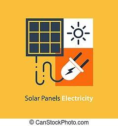 plano, enchufe, ilustración, energía, fuente, diseño, panel ...