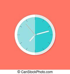 plano, encima, reloj, rojo, icono