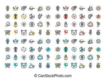 plano, energía, conjunto, renovable, iconos