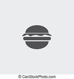 plano, eps10, ilustración, color., hamburguesa, vector, ...