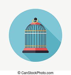 plano, eps10, mascota, largo, icono, enjaule pájaro, sombra
