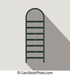 plano, escalera, sombra, icono