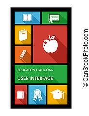 plano, escuela, colorido, móvil, app, espalda, icons.,...