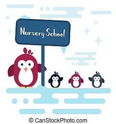 plano, escuela, pingüinos, pole., estilizado, guardería infantil, caracteres, sur