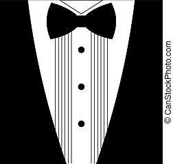 plano, esmoquin, arco, corbata negra, blanco