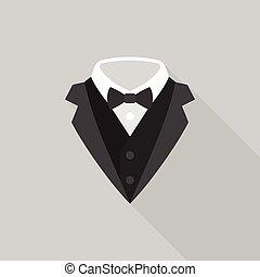 plano, esmoquin, largo, arco, diseño, icono, corbata, sombra