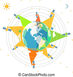 plano, espacie ilustración, diseño, satélites, tierra