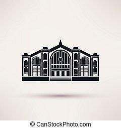 plano, estación, ferrocarril, edificio., style., icono