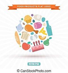 plano, estilo, alimento, ilustración, vector, productos, ...