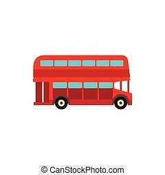 plano, estilo, autobús, decker, doble, icono