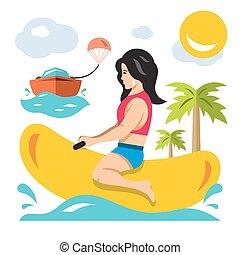 plano, estilo, boat., colorido, paseo, plátano, vector, niña, caricatura, illustration.