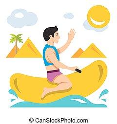plano, estilo, boat., colorido, paseo, bot, plátano, vector, caricatura, illustration.