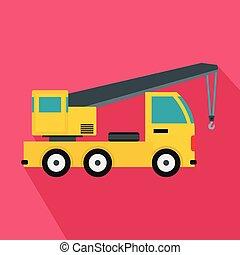 plano, estilo, camión, icono, grúa, montado