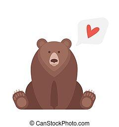 plano, estilo, canadiense, ilustración, vector, bear.
