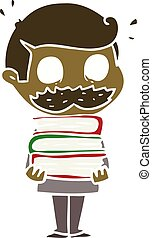 plano, estilo, color, libros, caricatura, bigote, hombre