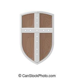 plano, estilo, coloreado, protector, cruz, Ilustración, icono,  medieval