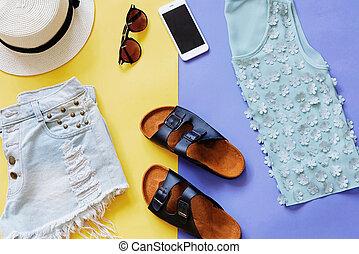 plano, estilo, colorido, verano, accesorios, colocar, plano de fondo, ropa