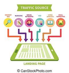 plano, estilo, concepto, aterrizaje, fuente, vector, tráfico...