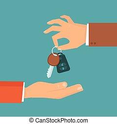 plano, estilo, concepto, coche, venta, vector, alquiler, o