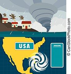 plano, estilo, concepto, conjunto, huracán, tormenta, bandera