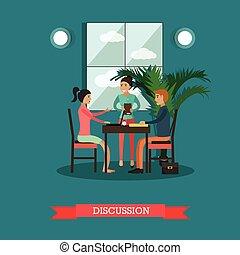 plano, estilo, concepto, discusión, ilustración, vector