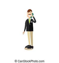 plano, estilo, concepto, hotel, ilustración, vector, recepcionista
