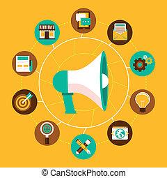 plano, estilo, concepto, mercadotecnia, vector, internet