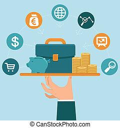 plano, estilo, concepto, servicio, banca, vector