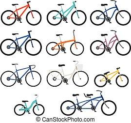 plano, estilo, conjunto, bicycles, differnt, tipos