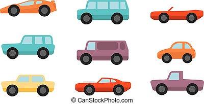 plano, estilo, conjunto, coches