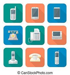 plano, estilo, conjunto, coloreado, iconos, dispositivos, teléfono, vario