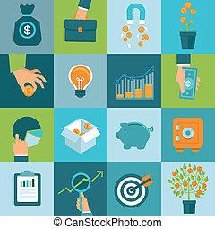 plano, estilo, conjunto, empresa / negocio, vector,...