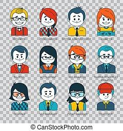 plano, estilo, conjunto, gente, iconos, ilustración, plano...