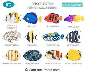 plano, estilo, conjunto, icono, mascota, peces de agua...