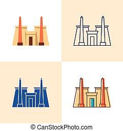 plano, estilo, conjunto, karnak, línea, templo, icono