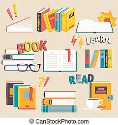 plano, estilo, Conjunto, Libros