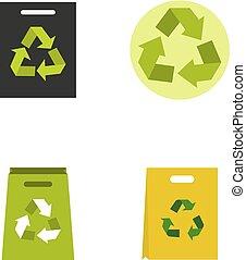 plano, estilo, conjunto, material, reciclar, icono