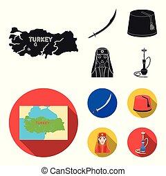 plano, estilo, conjunto, turco, turco, símbolo, iconos,...