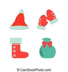plano, estilo, conjunto, vector., navidad, illustrations.