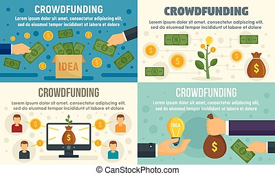 plano, estilo, crowdfunding, conjunto, invierta, bandera