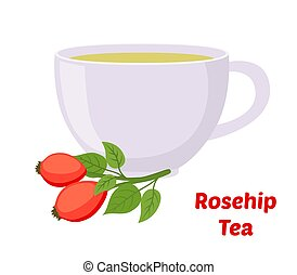 plano, estilo, cup., rosa, briar, rosehip, vector, té, caricatura, haw