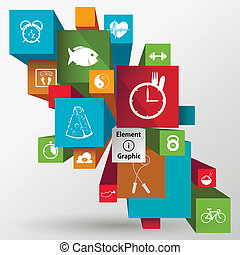 plano, estilo de vida, ilustración, infographic, salud, diseñado