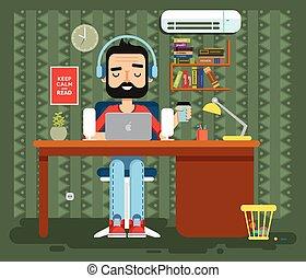 plano, estilo, diseñador, auriculares, carácter, computadora...