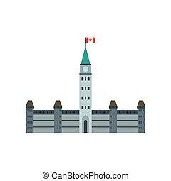 plano, estilo, edificios del parlamento, ottawa, icono