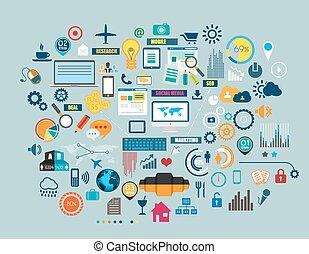 plano, estilo, empresa / negocio, diagrama, móvil,...