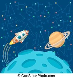 plano, estilo, exterior, sobre, ilustración, vector, space.