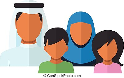 plano, estilo, familia , avatars, árabe, miembros